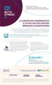 La convention d'indemnisation et de recours des sinistres immeubles (Convention-IRSI) O! ACTU SYNDIC #1
